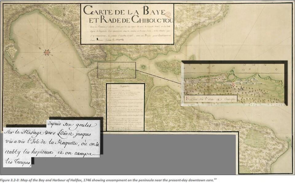 Une carte montrant à quoi ressemblait le port d'Halifax en 1746.