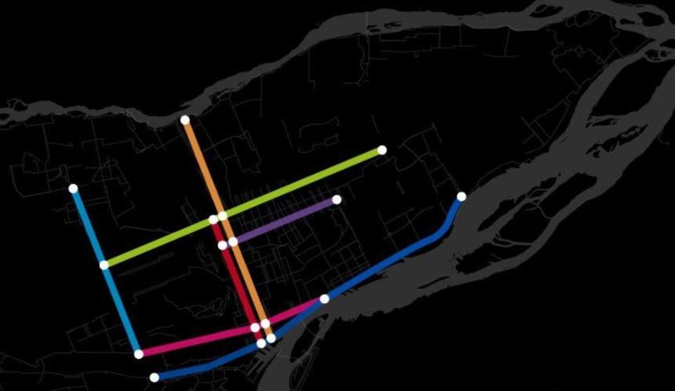 Carte représentant le réseau de liens cyclables sécurisés que promet Projet Montréal, avec sept grands axes sur l'île de Montréal.