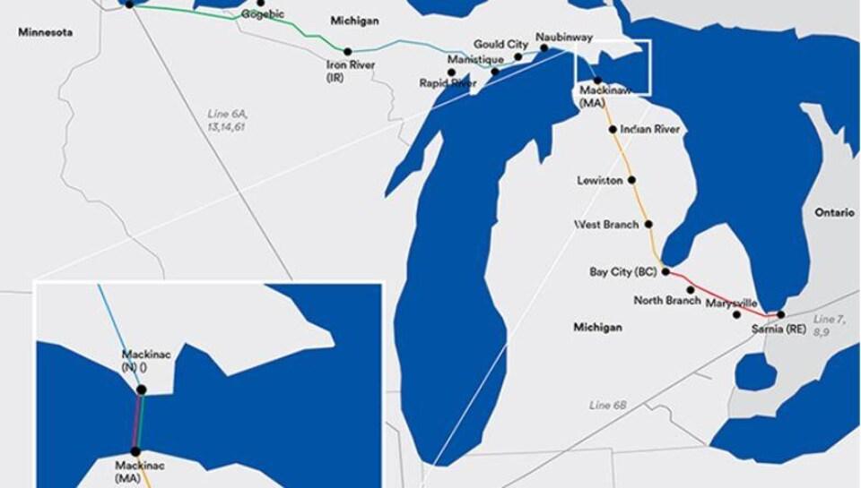 Le parcours de la canalisation 5 d'Enbridge qui traverse une partie du Michigan et  le détroit de Mackinac.