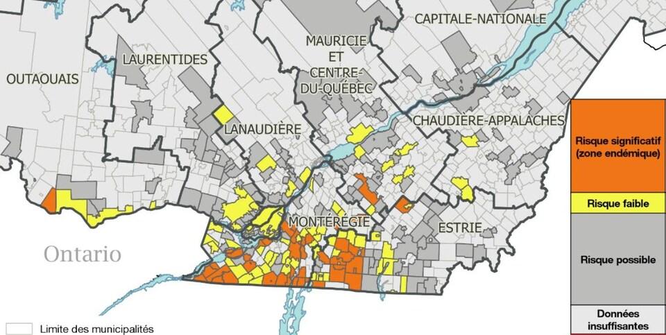 La carte montre que la Montérégie et l'Estrie sont les régions les plus touchées.