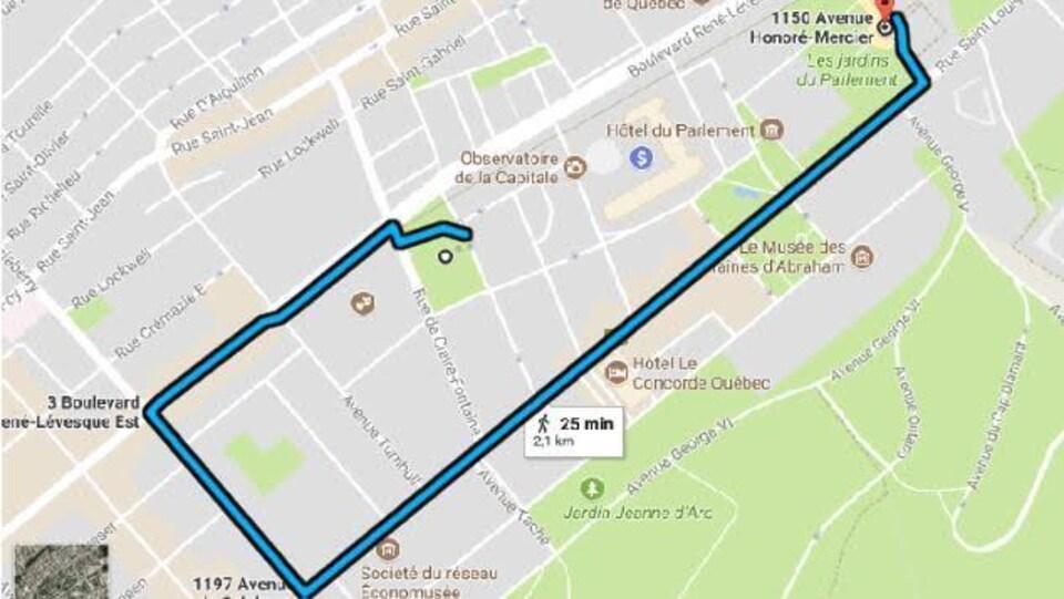 Itinéraire de la manifestation du 27 septembre à Québec