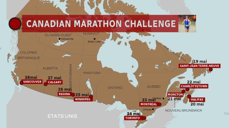 Carte avec les noms de villes du Canada