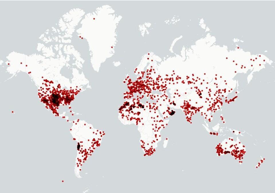 Carte des météorites d'au moins 1 kg retrouvés à travers le monde.