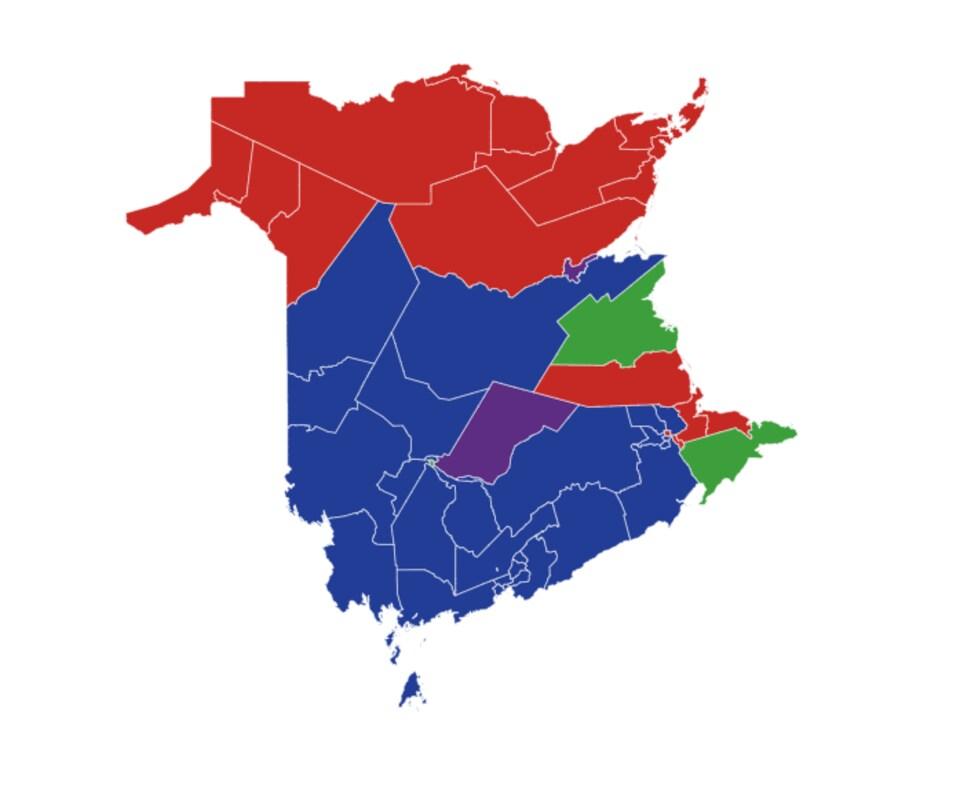 Carte des circonscriptions électorales du Nouveau-Brunswick.