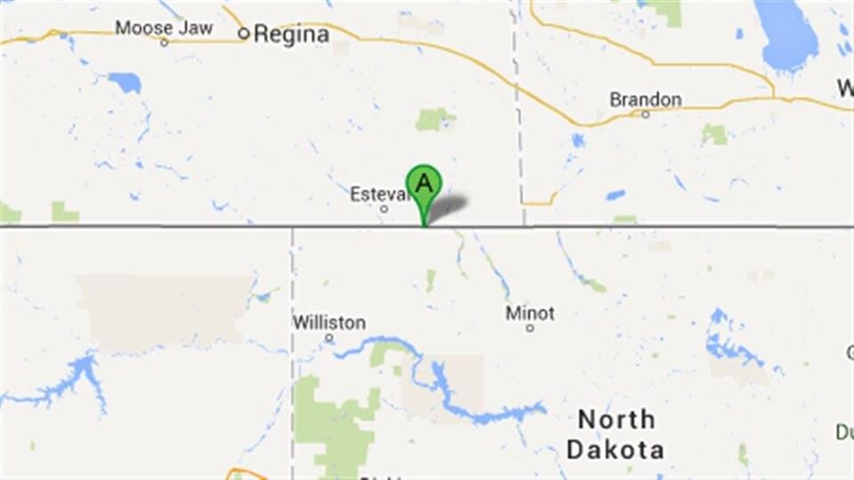 Carte du poste frontalier North Portal, en Saskatchewan