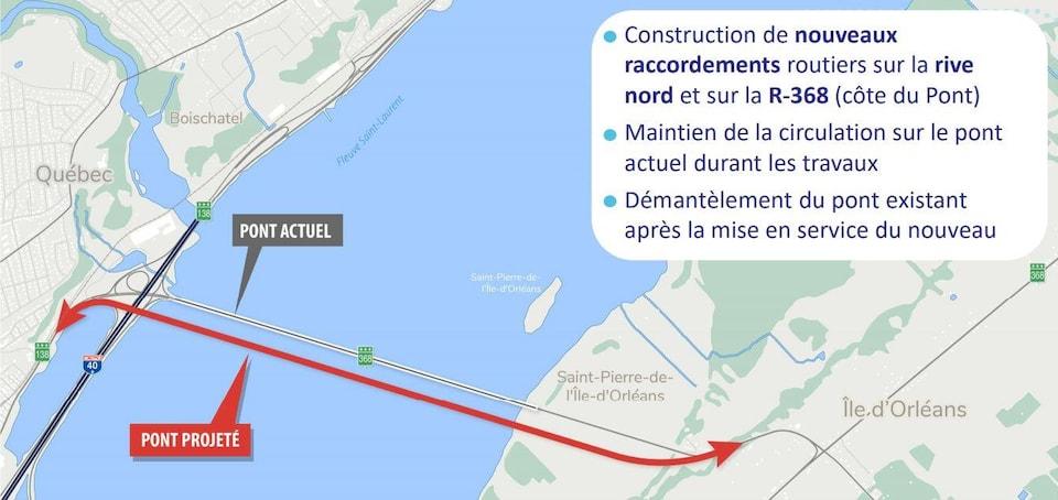 Carte du secteur du pont de l'île d'Orléans.