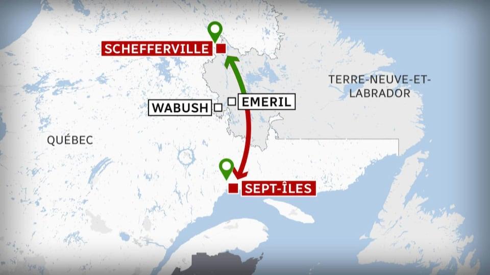 Le parcours de 530 kilomètres de Tshiuetin entre Sept-Îles et Schefferville