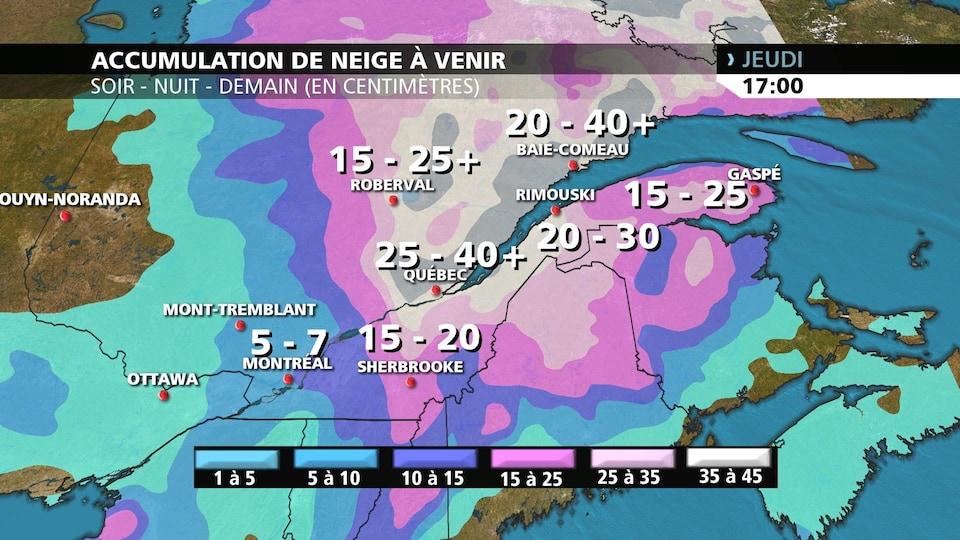 La carte indique qu'on attend jusqu'à 7 cm de neige à Montréal, jusqu'à 20 cm à Sherbrooke, jusqu'à 25 cm à Roberval et Gaspé, jusqu'à 30 cm à Rimouski, et jusqu'à 40 cm à Québec et Baie-Comeau.