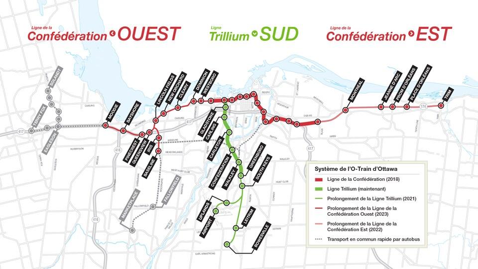 Une carte du futur réseau de train léger sur rail d'Ottawa. On peut y voir une liste des stations, allant de la station Moodie, dans l'ouest de la ville, à la station Trim, dans l'est, tout en passant par la station Bowesville, dans le sud. Un lien vers l'aéroport international d'Ottawa est également visible.