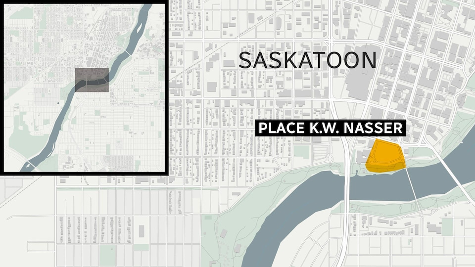 Une carte qui permet de situer l'emplacement du projet River Landing et de la place K.W Nasser à Saskatoon.