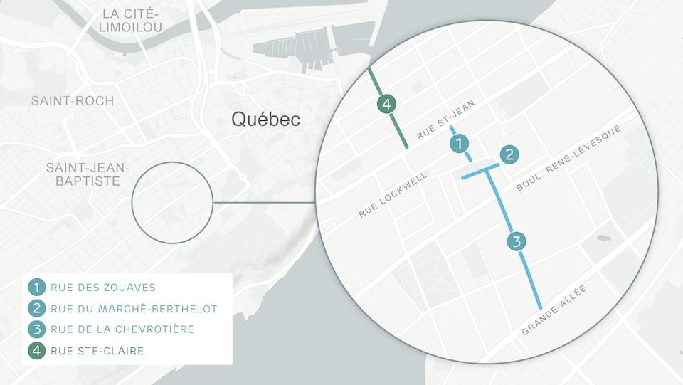 Les rues du Marché-Berthelot, des Zouaves et De La Chevrotière deviendront des rues partagées.