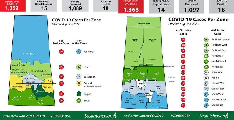 Une carte gouvernementale des cas de la COVID-19 en Saskatchewan.