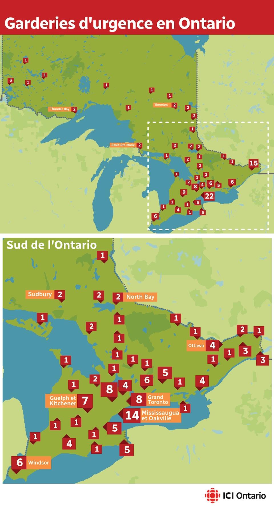 Une carte de l'Ontario et une du Sud de l'Ontario illustrent la répartition des centres de garde d'urgence.