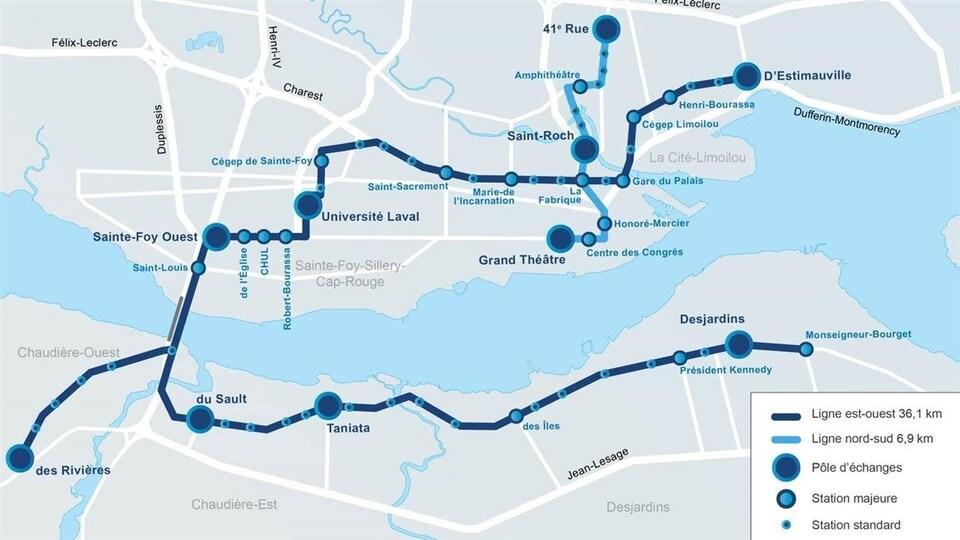 Une carte du tracé du Service rapide par bus