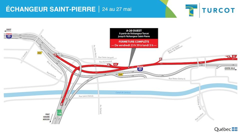 Carte des fermetures de routes dans l'échangeur Saint-Pierre au cours du week-end.