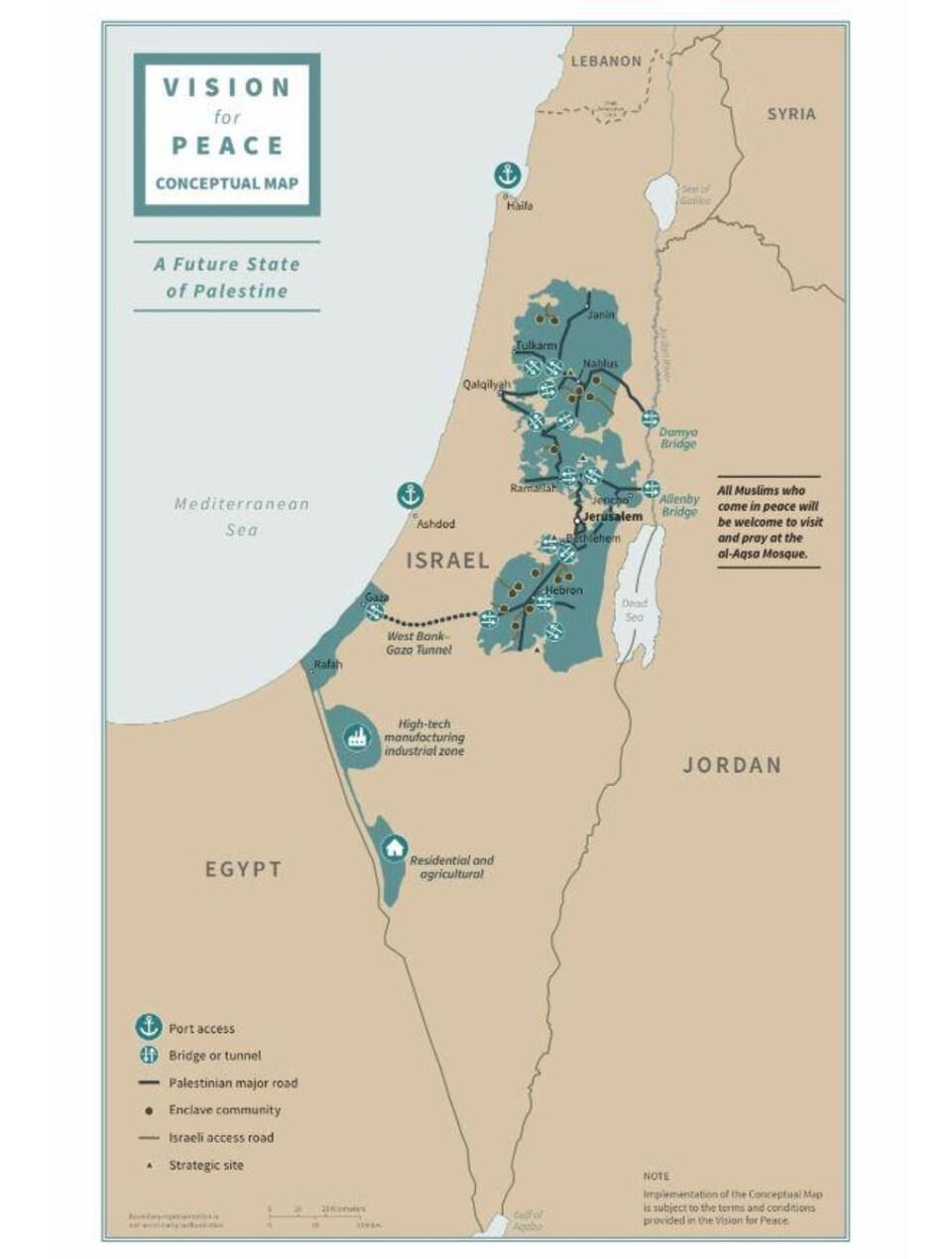 Carte sur laquelle une zone colorée représente un « futur État de Palestine ».