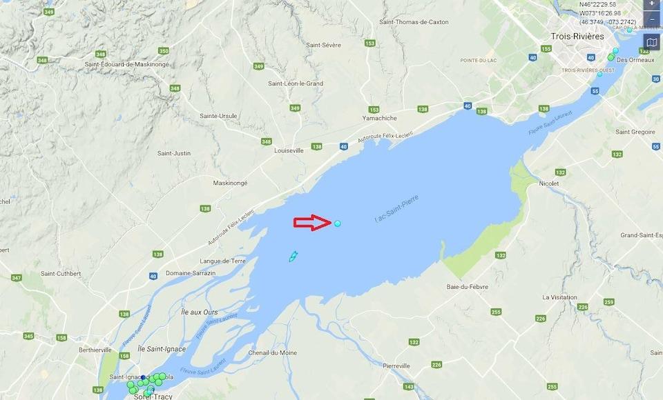 Carte avec un point dans le lac Saint-Pierre.