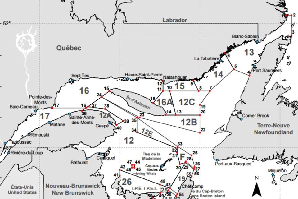 Une carte des zones de pêche au crabe des neiges en Atlantique