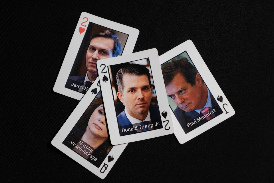 Cartes de Donald Trump fils, Jared Kushner, Paul Manafort et Natalia Veselnitskaya