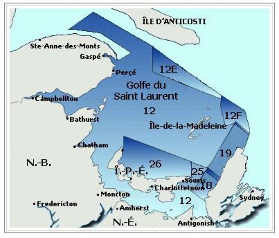 Les zones de pêche au crabe des neiges dans le golfe du Saint-Laurent