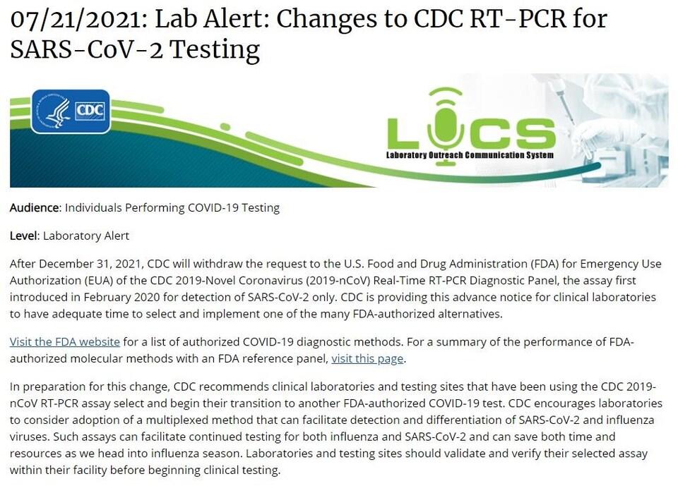 Une capture d'écran de l'avis des CDC intitulé, en anglais, « Alerte de laboratoire : modification au RT-PCR CDC pour le dépistage du SRAS-CoV-2 ».