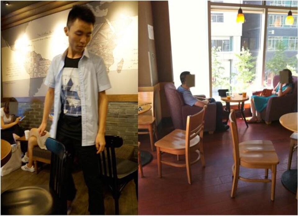 Un homme se glisse entre deux chaises