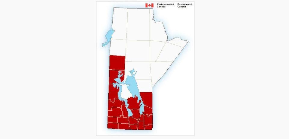 Une carte du Manitoba dont la moitié sud est rouge.