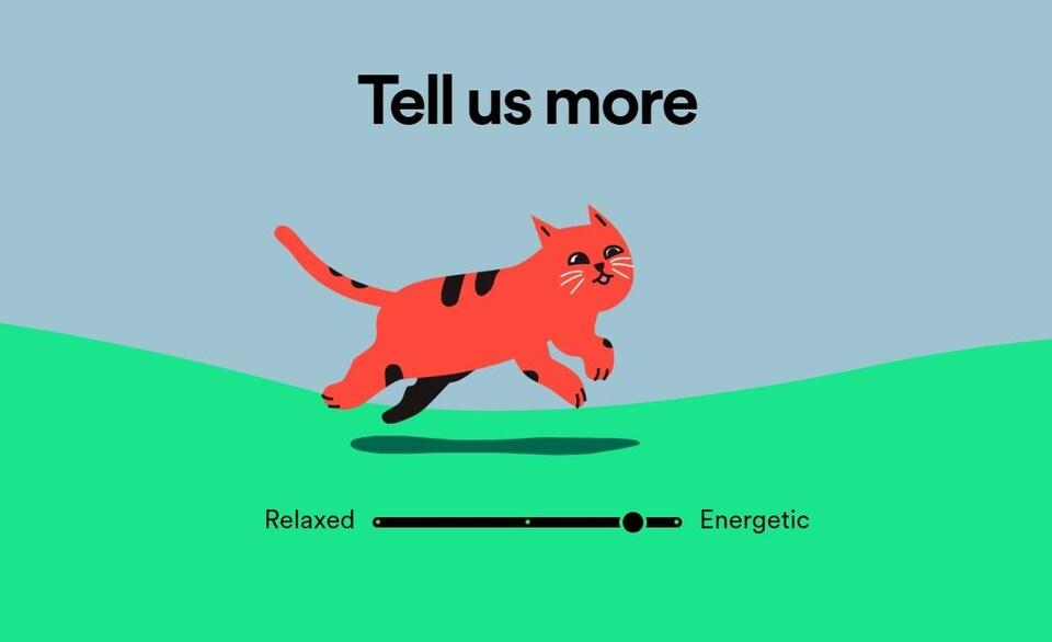 L'interface de Pet Playlists, où l'on peut choisir si notre animal de compagnie est plutôt relaxe ou énergique.