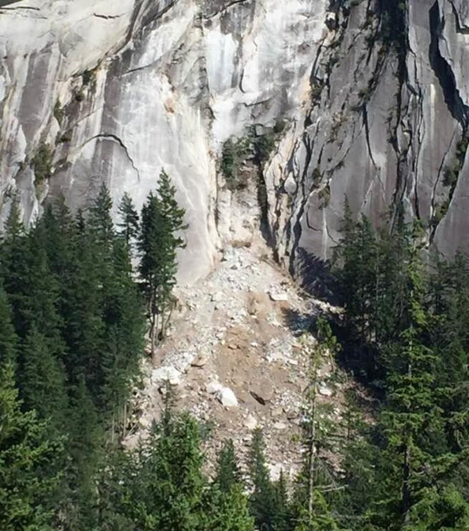 Photo d'un éboulement au mont Chief.