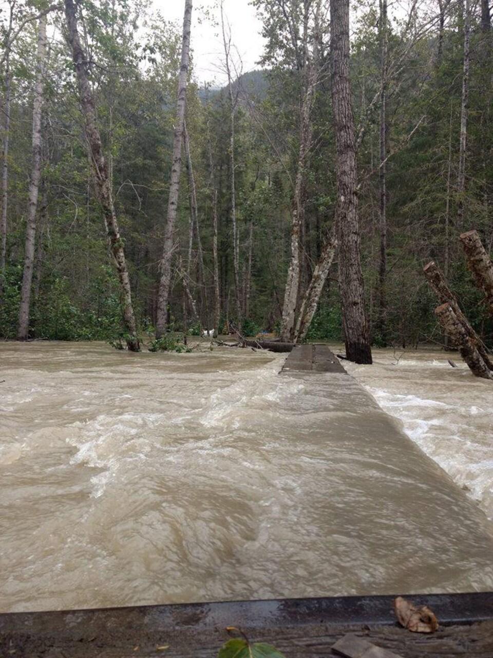 De l'eau par dessus des installations en bois visant à traverser la rivière.