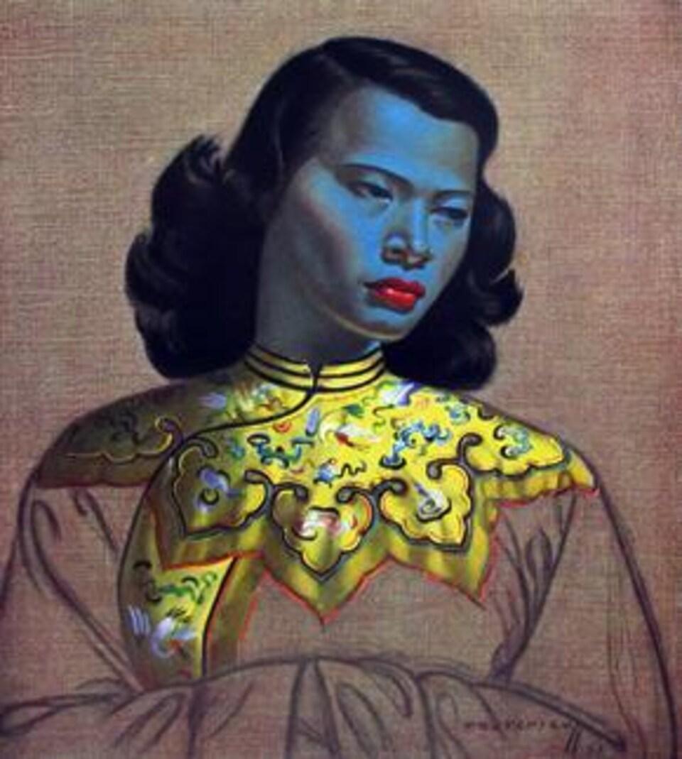 Peinture d'une femme asiatique avec la peau bleutée