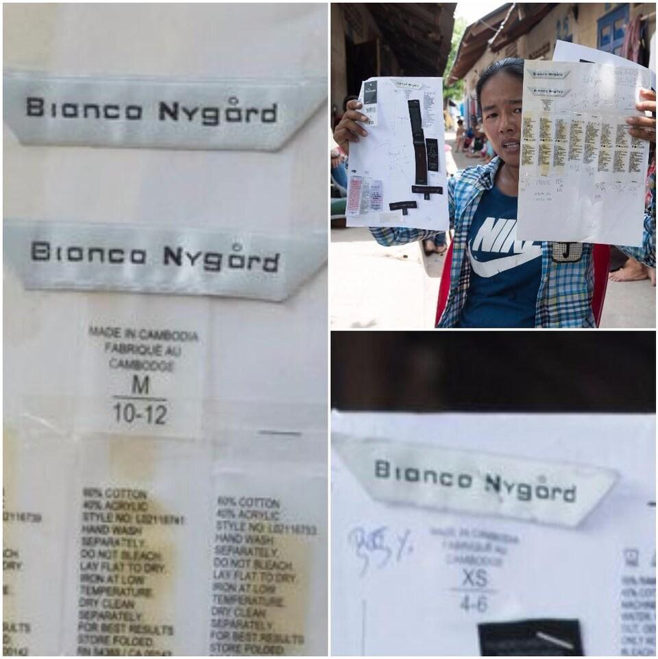 Une ancienne employée de l'usine Chung Fai, au Cambodge, présente les étiquettes des vêtements qu'elle cousait, dont des étiquettes de la collection Bianca Nygard, de Nygard International.