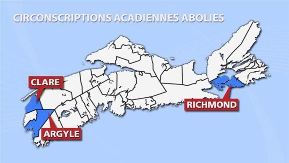 Une carte montrant les trois anciennes circonscriptions acadiennes de la Nouvelle-Écosse.