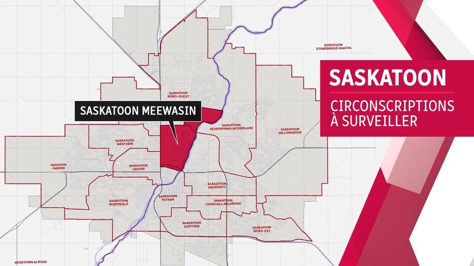 Carte de la circonscription de Saskatoon Meewasin.