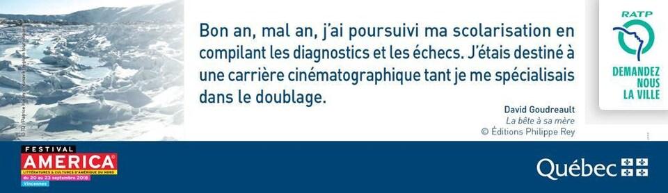 Extrait de <em>Le bête à sa mère</em> de David Goudreault pour les transports de la RATP en France.