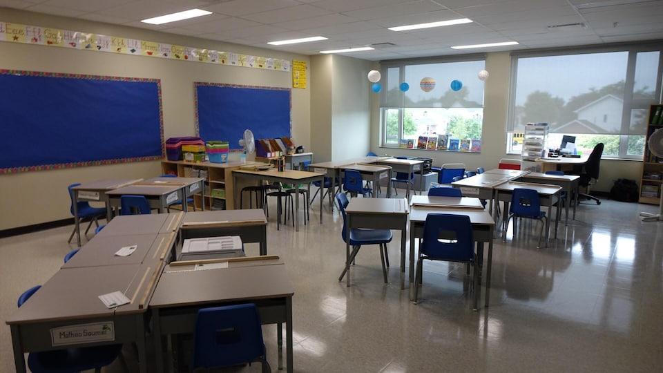 Des bureaux dans une classe.