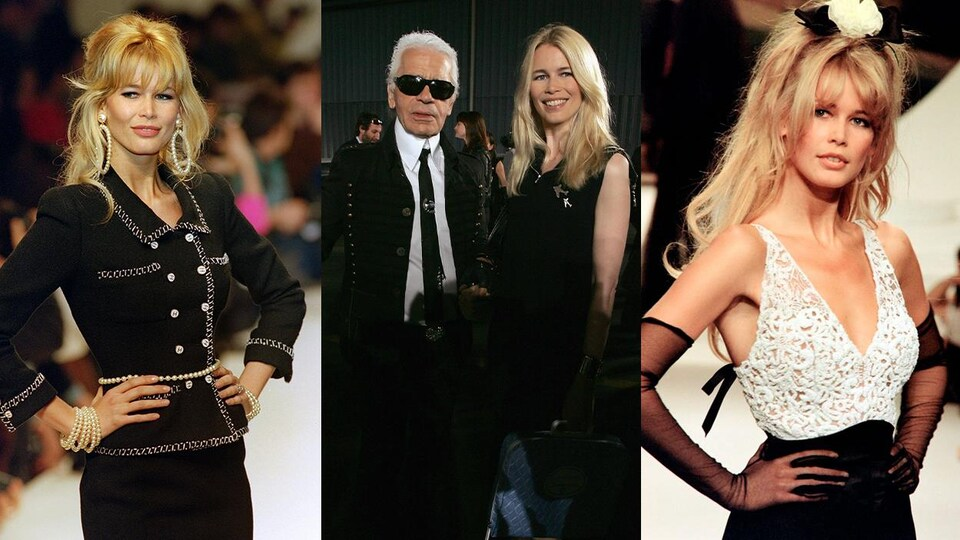 Claudia Schiffer habillée par Karl Lagerfeld