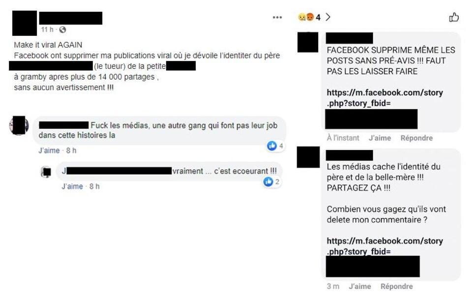 Des internautes dévoilent sur Facebook l'identité des accusés dans le dossier de la mort d'une fillette à Granby, et reprochent aux médias de ne pas le faire.