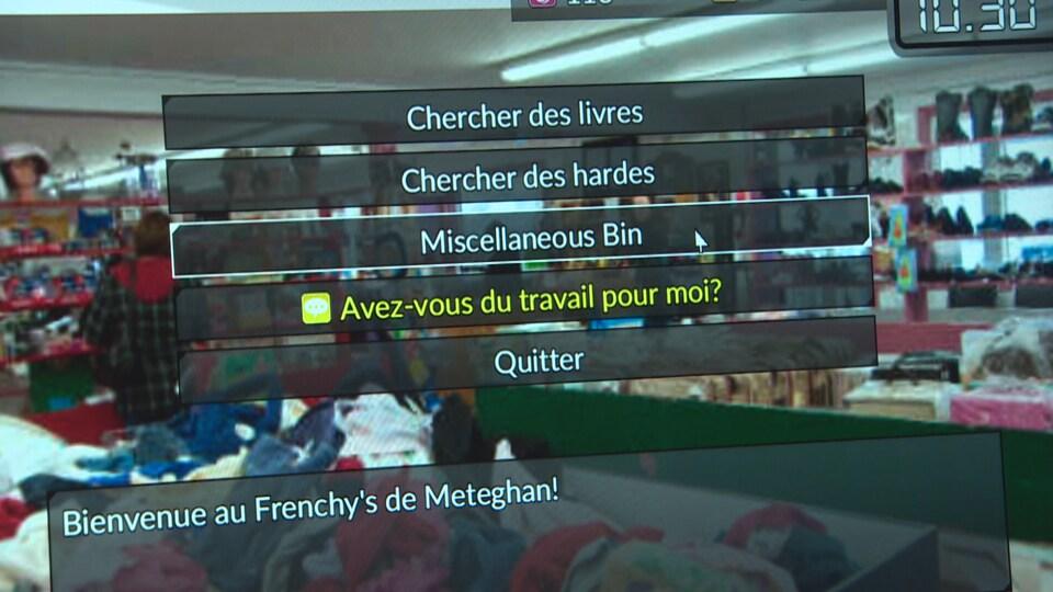 Des actions possibles s'affichent à l'écran pour le joueur dont le personnage vient d'entrer dans une friperie locale