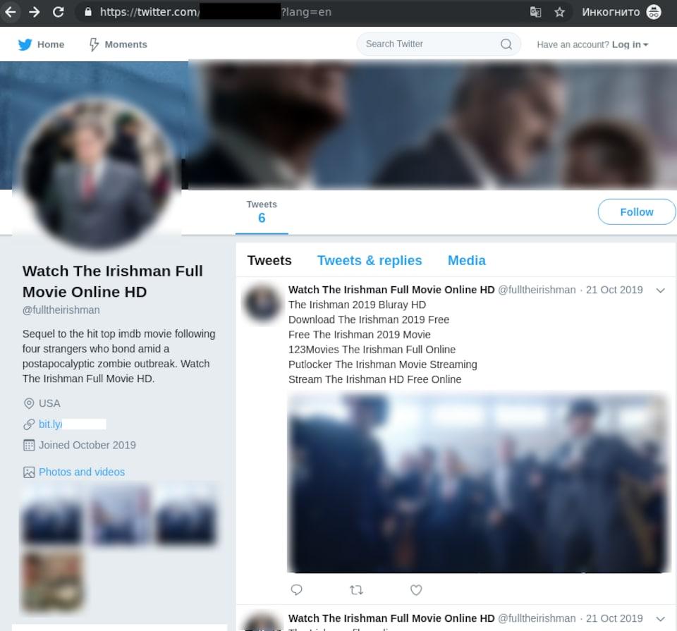 Capture d'écran d'un faux compte Twitter qui incite à regarder The Irishman.