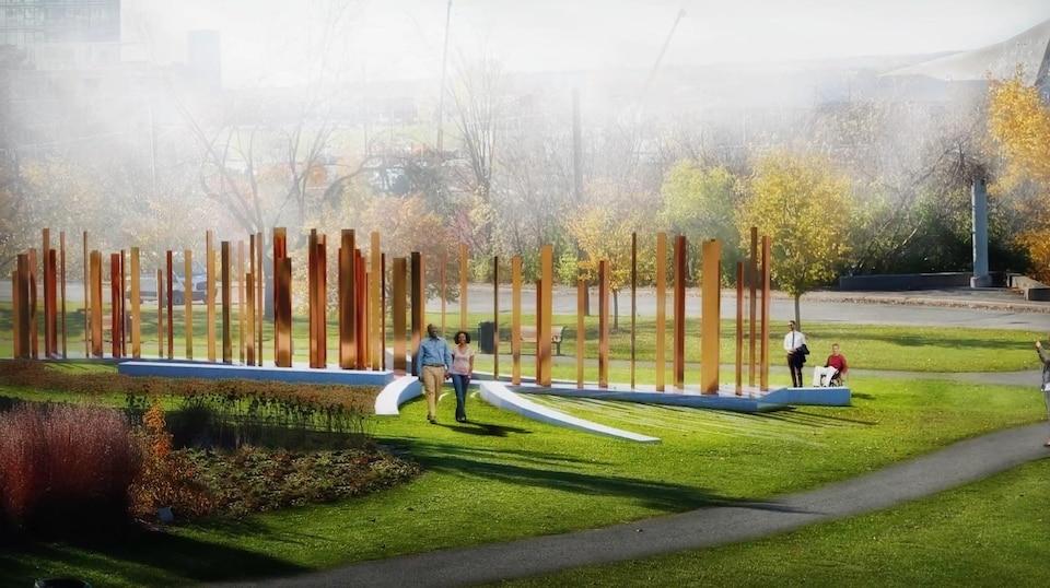 Le projet proposé par l'équipe Mills comporte des monolithes triangulés, qui ressemblent de loin à des piliers.