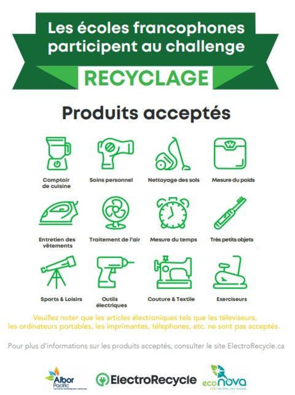 Sur fond blanc, il est écrit en vert: les écoles francophones participent au challenge Recyclage. Et des dessins de divers petits appareils électroménagers sous le titre: Produits acceptés.
