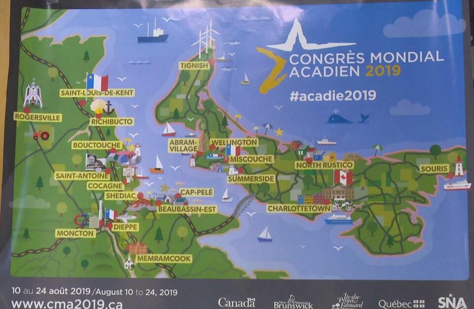 Carte des lieux des festivités du Congrès mondial acadien 2019.