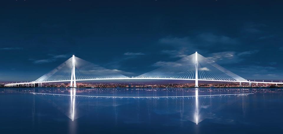 Esquisse du projet de pont haubané devant relier Windsor et Détroit.