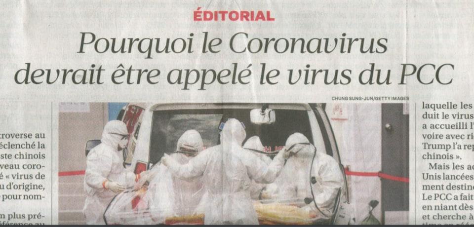 L'éditorial du journal titré « Pourquoi le Coronavirus devrait être appelé le virus du PCC » avec une photo de travailleurs de la santé en combinaison de protection.
