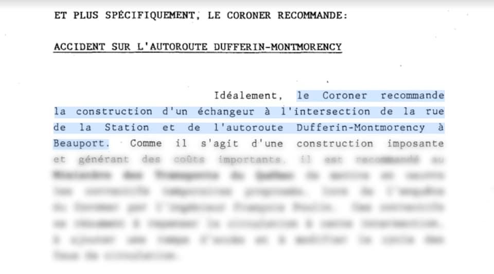 Un extrait de rapport du coroner.