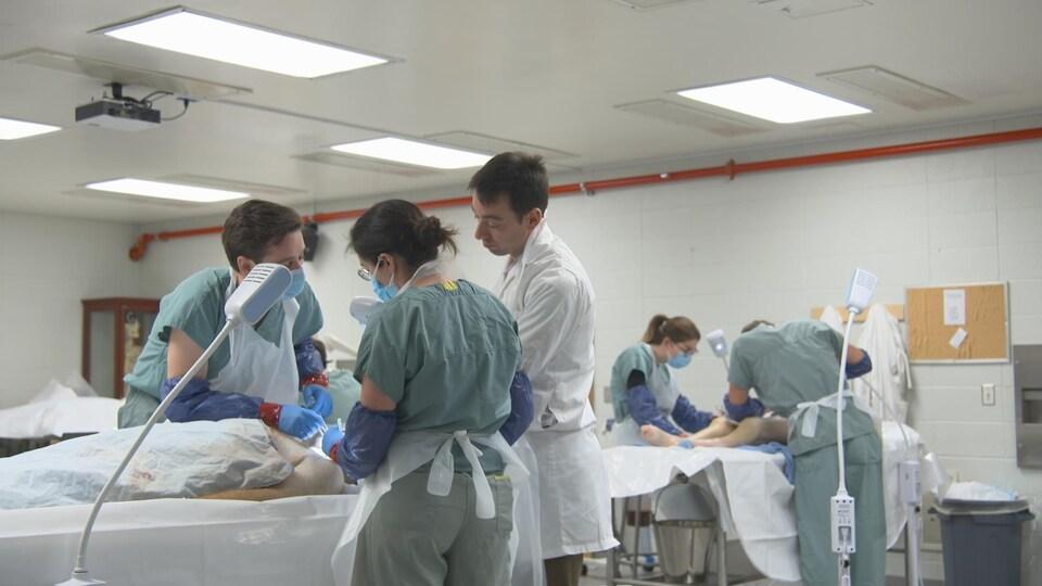 On voit des étudiants dans un laboratoire qui pratiquent leurs tâches médicales sur des corps disposés sur des tables.