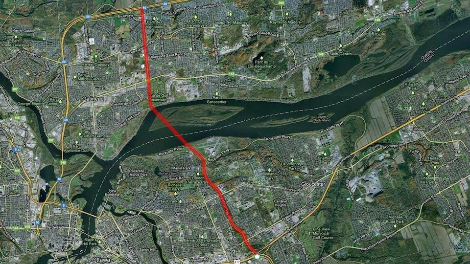Une vue aérienne de la région d'Ottawa et de Gatineau tirée de Google Maps.