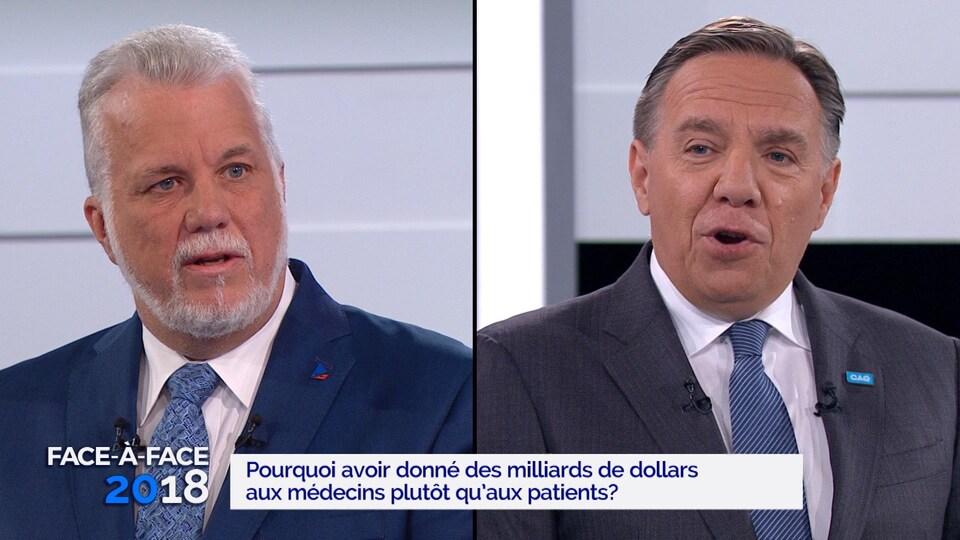 Philippe Couillard et François Legault lors du «Face-à-face» de TVA