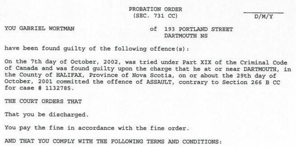 Le document judiciaire indiquant la culpabilité de Wortman et les conditions qu'il devait respecter.